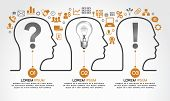 image of lightbulb  - Background infographics with human heads - JPG