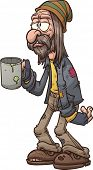 stock photo of beggar  - Cartoon beggar - JPG
