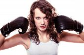 foto of martial arts girl  - Martial arts or emancipation idea concept - JPG