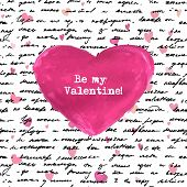 stock photo of cursive  -  Seamless hand drawn text and small hearts and big watercolor heart - JPG