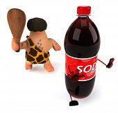picture of caveman  - Caveman and soda - JPG