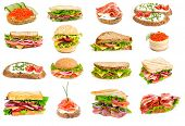 pic of deli  - Collage of sandwiches isolated on a white background - JPG