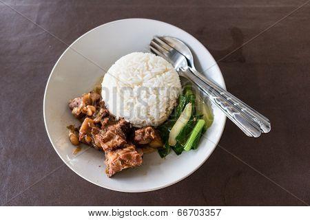 Pork With Rice ,thai Food
