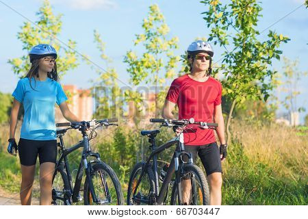 Cycling Athlets Exercising Relaxing During Their Exercise In Nature Environment Outdoor