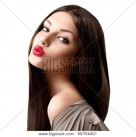 Beauty fashion girl portrait. Beauty brunette model. Beauty Woman Portrait. Beautiful Girl looking at camera. Long Healthy and Shiny Smooth Brown Hair. White background. Beautiful make up. Emotion