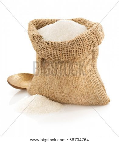 sugar granules in bag isolated on white background
