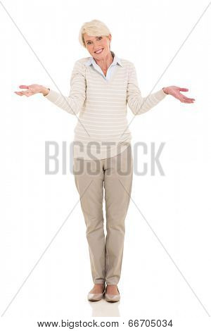 beautiful mature woman making helpless gesture on white background