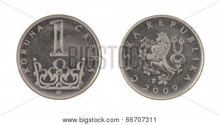 Czech koruna coins isolated on white