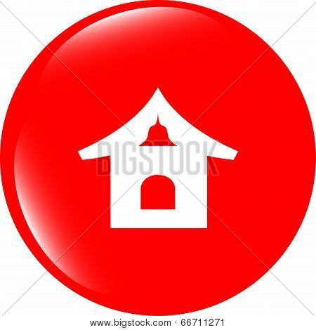House Web Icon Button isolated on white