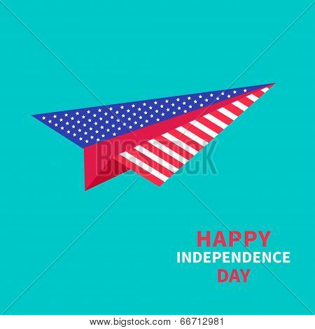 Paper plane with stars and strips. Dash line. Happy independence day United states of America.