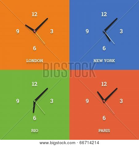 World Time Clocks In Flat Style On Color Squares.
