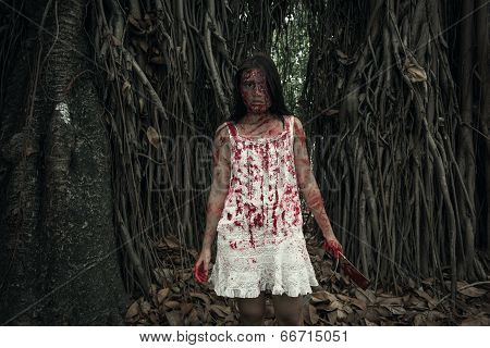Suicidal Girl In Forest