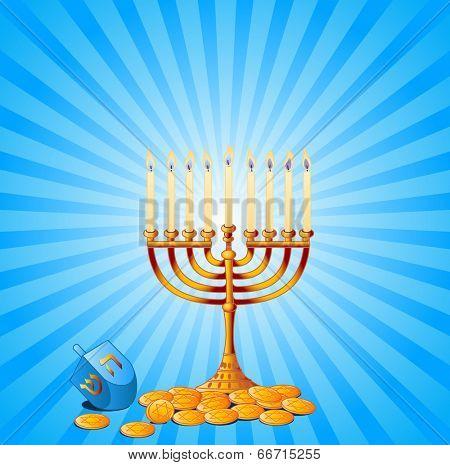 Jewish festival of Hanukkah/Chanukah Background, including Menorah, dreidls/sevivot and Hanukkah Gelt. Raster version.