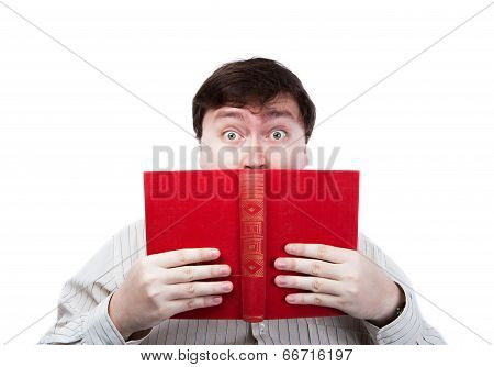 Man In Stress Holding An Open Red Book