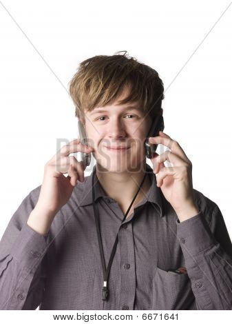Man with telephones