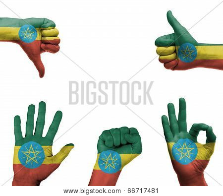 Hand Set With The Flag Of Ethiopia