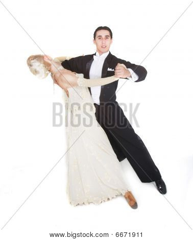 Dancing Couple Over White