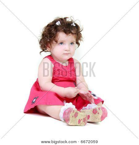 Upset Toddler Girl Over White