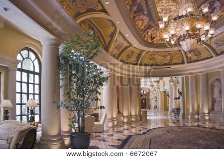 Luxury Classic Colonnade Corridor And Ornate Luster