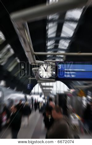 Clock In Train Station. Frankfurt Am Main, Germany