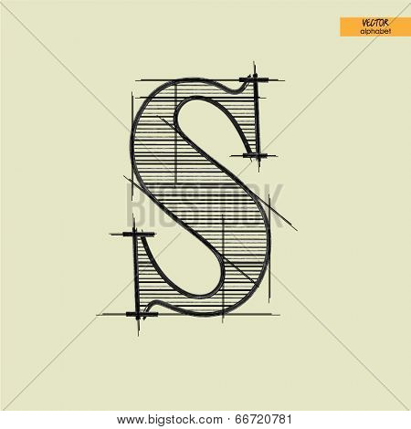 art simple alphabet in vector, classical black handmade font, lowercase letter s