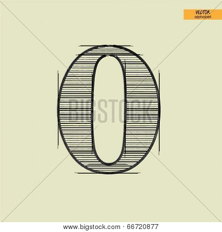 art simple alphabet in vector, classical black handmade font, lowercase letter o