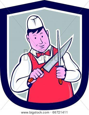 Butcher Sharpening Knife Cartoon
