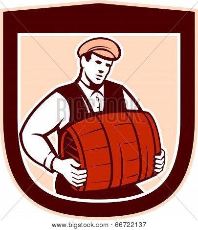 Bartender Carrying Keg Shield Retro