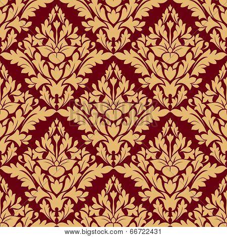 Maroon and orange damask seamless pattern