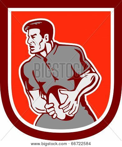 Rugby Player Passing Ball Sideview Retro