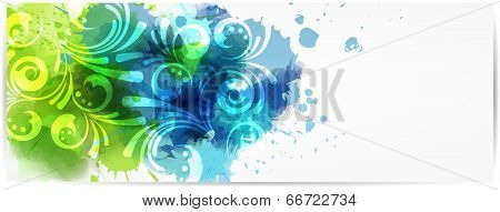Abstract Horizontal Banner With Modern Swirly Design