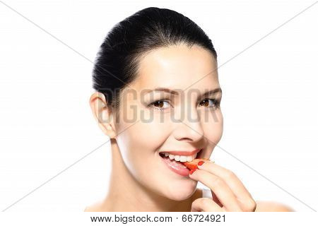 Woman Eating A Luscious Ripe Red Strawberry