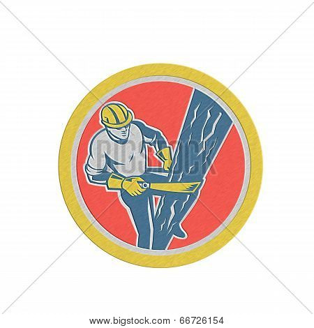 Metallic Power Lineman Repairman Harness Climbing Circle