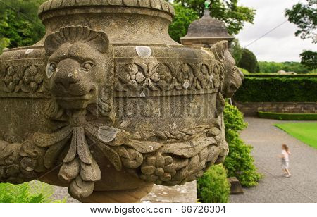 Stone Urn At Pollok House In Pollok Country Park, Glasgow, Scotland, Uk