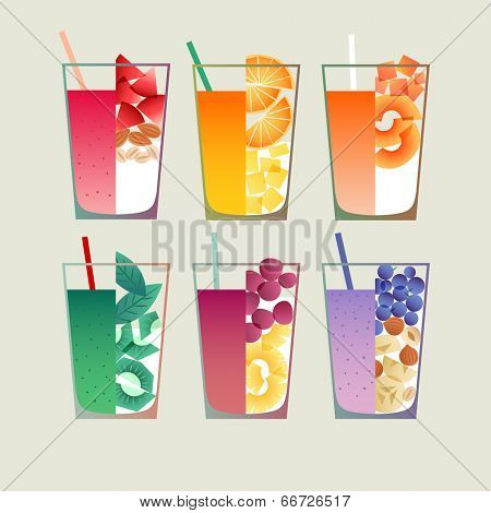 Healthy fruit and vegetable smoothies. File contains transparent objects.