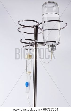 Disposable infusion set on grey background