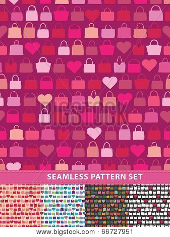 Seamless Pattern Set. Colorful Handbags And Hearts