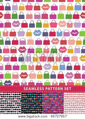 Seamless Pattern Set. Colorful Handbags And Lips
