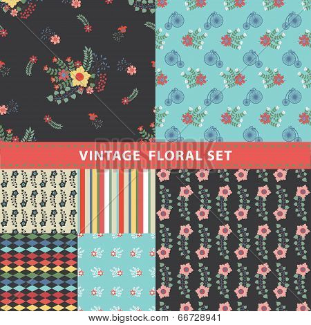 Seamless Pattern Set. Flowers, Branches, Retro Bicycle,strips,diamond