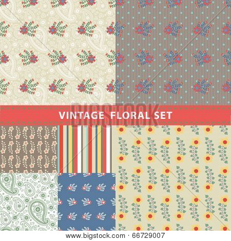 Seamless Pattern Set.flowers, Branches, Berries,paisley,strips