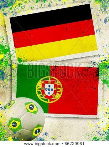 German vs Portugal soccer ball concept