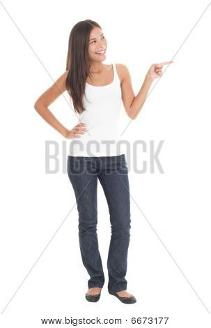 Woman Pointing In Full Length