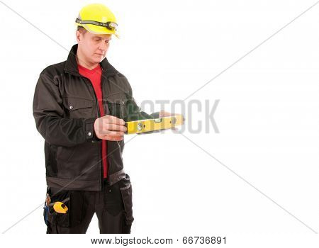 Contractor worker with helmet isolated on white background
