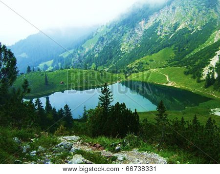 Bavarian mountains and lake