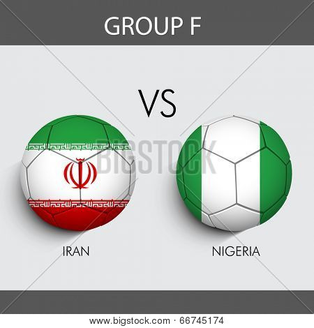 Group F Match Iran v/s Nigeria countries flags for Soccer