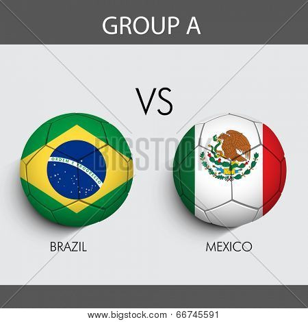 Group A Match Brazil v/s Mexico countries flags