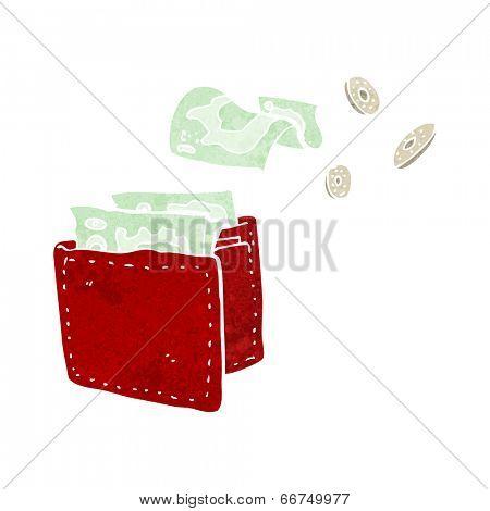 cartoon wallet spilling money