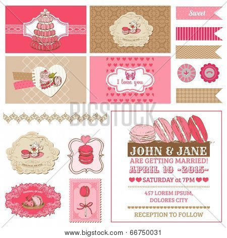 Scrapbook Design Elements - Macaroons and Dessert Collection - in vector