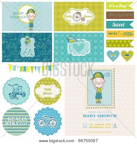 Baby Shower Bicycle Party Set - for Party Decoration, Scrapbook, Birthday - in vector
