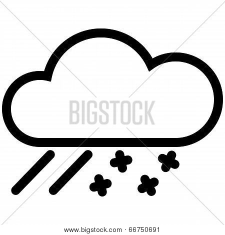 Weather Web Icon With Cloud, Snow And Rain